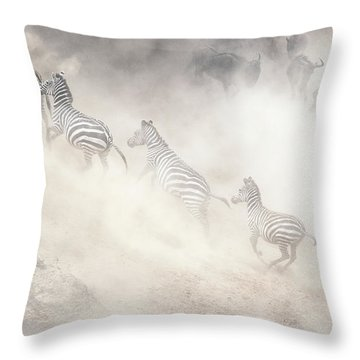 Dramatic Dusty Great Migration In Kenya Throw Pillow