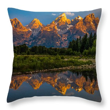 Dramatic Grand Teton Sunrise Throw Pillow