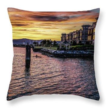 Dramatic Hudson River Sunset Throw Pillow