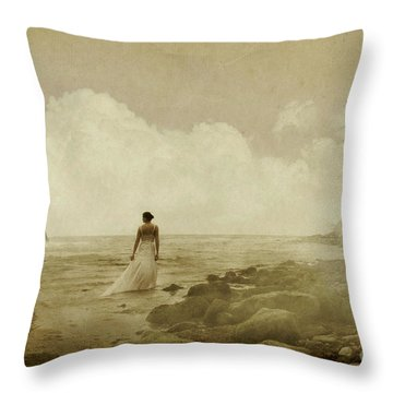 Dramatic Seascape And Woman Throw Pillow