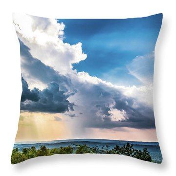 Throw Pillow featuring the photograph Dramatic Sunrays Over The Valley by Shelby Young