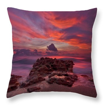 Dramatic Sunrise Over Coral Cove Beach In Jupiter Florida Throw Pillow by Justin Kelefas