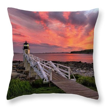 Dramatic Sunset At Marshall Point Lighthouse Throw Pillow