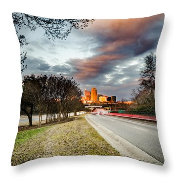 Dramatic Sunset Over Raleigh Throw Pillow