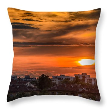 Dramatic Sunset Over Sofia Throw Pillow