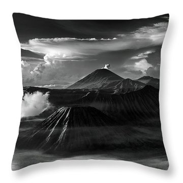 Throw Pillow featuring the photograph Dramatic View Of Mount Bromo by Pradeep Raja Prints