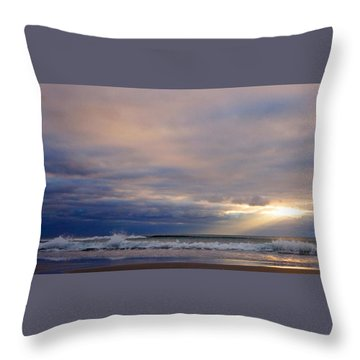 Dramatic Wave Sunrise Throw Pillow