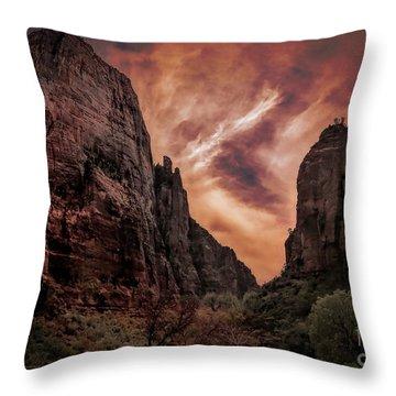 Dramatic Zion National Park Utah  Throw Pillow