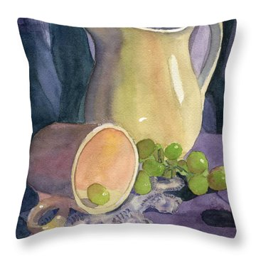 Drapes And Grapes Throw Pillow by Lynne Reichhart