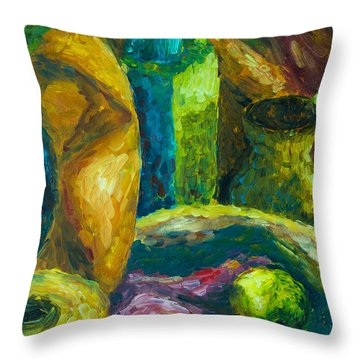Throw Pillow featuring the painting Drapes And Shapes by Angelique Bowman