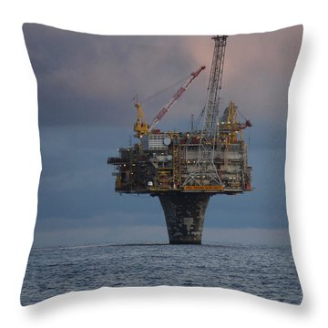 Throw Pillow featuring the photograph Draugen Platform by Charle Morrison