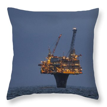 Throw Pillow featuring the photograph Draugen Platform by Charles Morrison