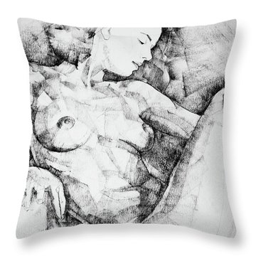 Drawing Beautiful Girl Figure Throw Pillow