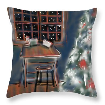 Drawing Board At Christmas Throw Pillow by Jean Pacheco Ravinski