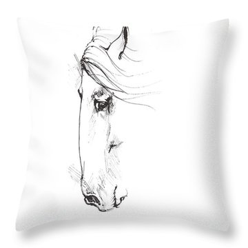 Drawing Of A Horse 2017 02 07 Throw Pillow