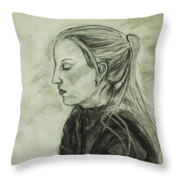 Throw Pillow featuring the drawing Drawing Of An Artist by Angelique Bowman