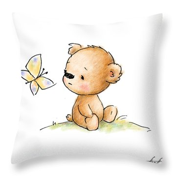 Drawing Of Cute Teddy Bear With Butterfly Throw Pillow