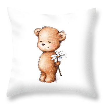 Drawing Of Teddy Bear With Daisy Throw Pillow