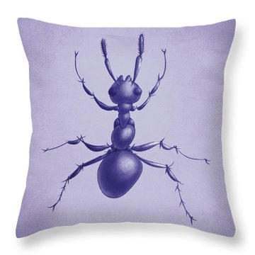 Drawn Purple Ant Throw Pillow