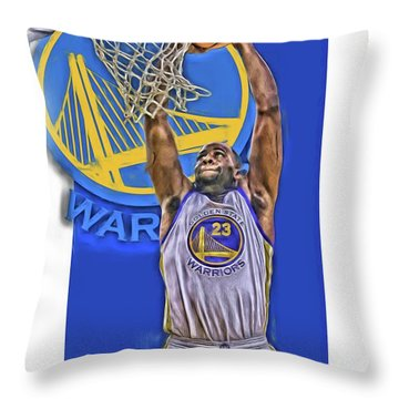 Draymond Green Golden State Warriors Oil Art Throw Pillow