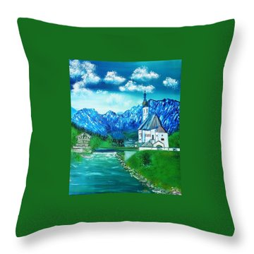 Throw Pillow featuring the painting Dream A Little Dream Of Bavaria St Sabastians Church by Debbie