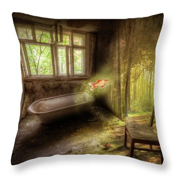 Throw Pillow featuring the digital art Dream Bathtime by Nathan Wright