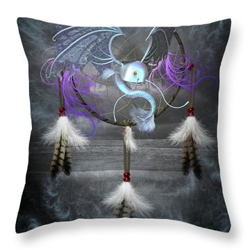 Dream Catcher Dragon Fish Throw Pillow