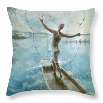 Throw Pillow featuring the painting Dream Catcher by Gertrude Palmer