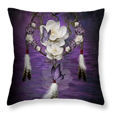 Dream Catcher Purple Flowers Throw Pillow