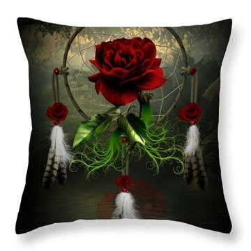 Dream Catcher Rose Throw Pillow