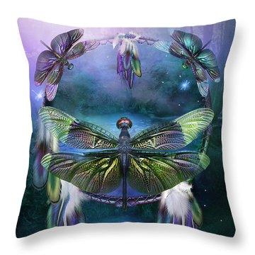 Dream Catcher - Spirit Of The Dragonfly Throw Pillow by Carol Cavalaris