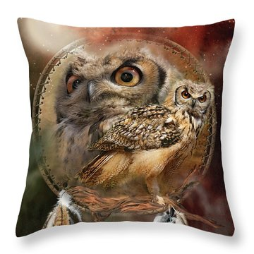 Dream Catcher - Spirit Of The Owl Throw Pillow