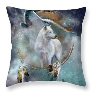 Dream Catcher - Spirit Of The White Wolf Throw Pillow by Carol Cavalaris