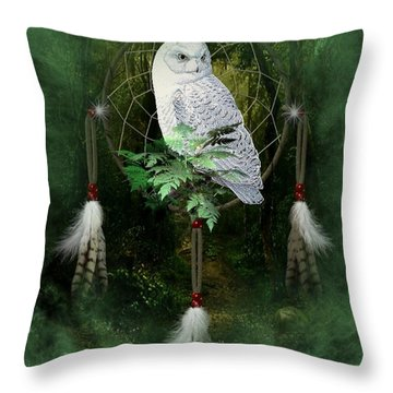 Dream Catcher White Owl Throw Pillow