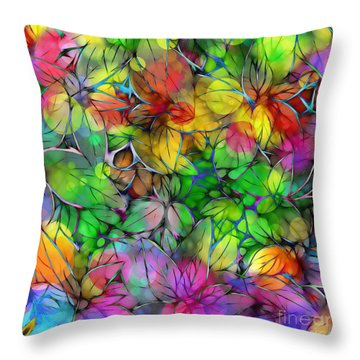 Throw Pillow featuring the digital art Dream Colored Leaves by Klara Acel