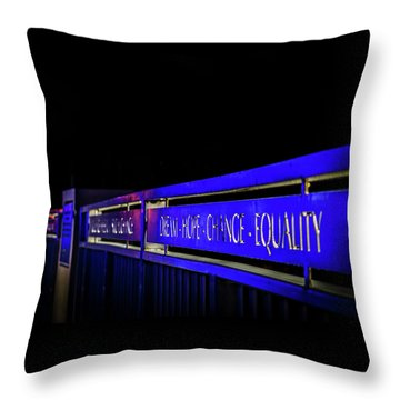 Dream-hope-change-equality Martin Lurther Kin Bridge - Fort Wayne Indiana Throw Pillow