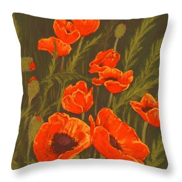 Throw Pillow featuring the painting Dream Of Poppies by Anastasiya Malakhova
