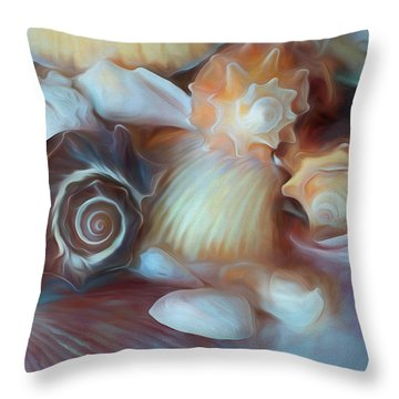 Throw Pillow featuring the mixed media Dream Of Seashells by Lynda Lehmann