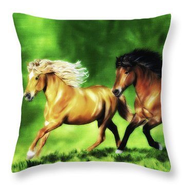 Throw Pillow featuring the painting Dream Team by Shari Nees