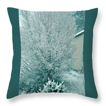 Throw Pillow featuring the photograph Dreaming Of A White Christmas - Winter In Switzerland by Susanne Van Hulst