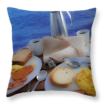 Throw Pillow featuring the photograph Dreaming Of Breakfast At Sea by DigiArt Diaries by Vicky B Fuller