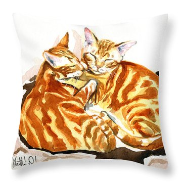 Dreaming Of Ginger - Orange Tabby Cat Painting Throw Pillow