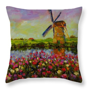 Throw Pillow featuring the painting Dreaming Of Holland by Chris Brandley