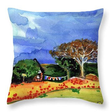 Throw Pillow featuring the painting Dreaming Of Malawi by Dora Hathazi Mendes