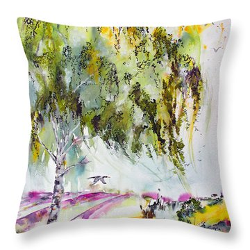 Throw Pillow featuring the painting Dreaming Of Provence by Ginette Callaway