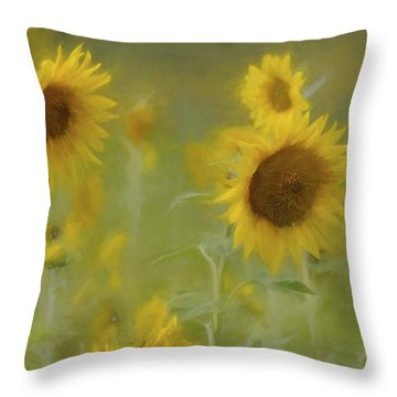 Throw Pillow featuring the photograph Dreaming Of Sunflowers by Benanne Stiens