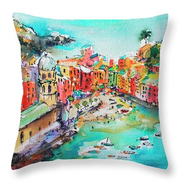 Dreaming Of Vernazza Cinque Terre Italy Throw Pillow