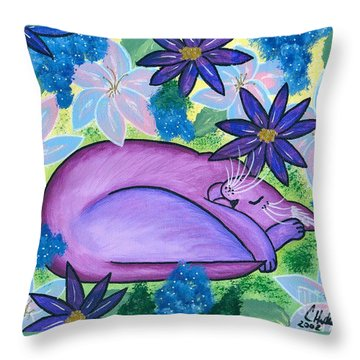 Dreaming Sleeping Purple Cat Throw Pillow