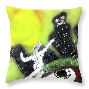 Throw Pillow featuring the painting Dreaming Under The Sun by eVol i