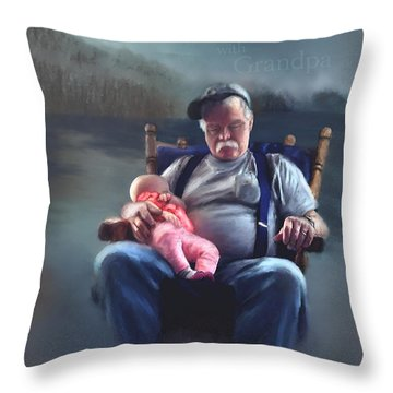 Dreaming With Grandpa Throw Pillow by Susan Kinney